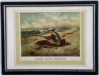 """Vintage Currier & Ives Snipe Shooting Framed Bookplate Art Print 9x7"""""""