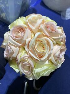 Used 25cm Rose Flower Ball In Pastel Colours, Silk Faux Flowers