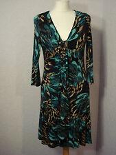 Wallis teal & black/brown multi patterned jersey dress 10 petite