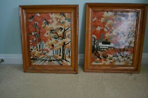 Vintage Pair Framed Paint by Number Fall Scenes