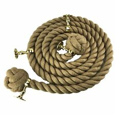 24mm Natural Bannister Stair Rope x 10 FT c/w 4 Polished Brass Fittings