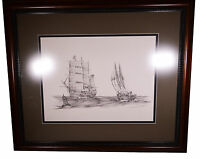 Vintage Original Signed Lawrence Packard Limited Edition Print Nautical Art Ship