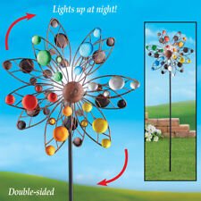 Outdoor Solar Lighted Stake Yard Double Wind Spinner Garden Colorful Sparkle Art