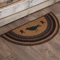 New Primitive Country HELLO BLACK WHITE CAT MAT Floor Rug Indoor//Outdoor