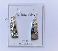 Gorgeous Handcrafted 925 Sterling Silver W/ Abalone Mother Of Pearl Earrings