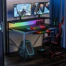 Led Gaming Desk Pc Laptop Computer Table With Keyboard Tray E Sports Gamer 41