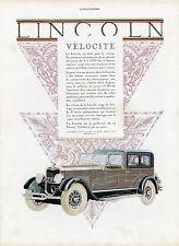 """""""LINCOLN (Vélocité)"""" Annonce originale entoilée L'ILLUSTRATION 1927"""