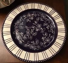 TEMP-TATIONS by Tara Floral Lace Blue Stripe 10.5 Dinner Plate PPP-SQ-832942 EC!