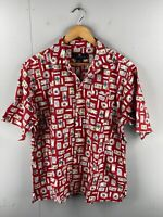 Consensus Sportswear Men's Vintage Short Sleeve Hawaiian Logo Shirt Size L Red