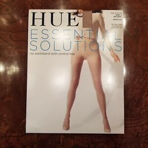 HUE Essential Solutions No Waistband Pantyhose Natural 3  Up To  6'  & 215 Lbs.