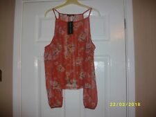 Ladies Orange Floral Print Top Size 10 from New Look