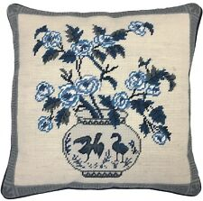 "16"" x 16"" Handmade Wool Needlepoint Petit Point Blue and White Bird Vase Pillow"