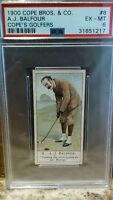 1900 Cope's Golfers #8 A J Balfour PSA 6 Rookie RC Well Centered Pop 2/11^