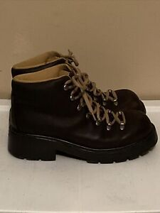 Vintage American Eagle 1977 Outfitters Brown leather Chunky Hiking Boots Size 8