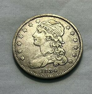 1834 CAPPED BUST QUARTER AU ROTATED DIE - FREE SHIP