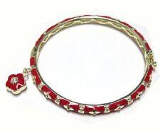 Red Enamel Flowers Gold Plated CZ Kids Girls Bangle Charm Bracelet 57 mm