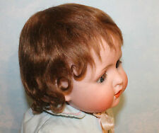 Brown mohair wig Vintage Antique German baby toddler doll Size 14-15