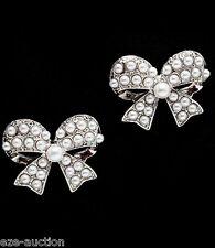 Wedding Bridal Pearl, Clear Crystal Ribbon Earrings