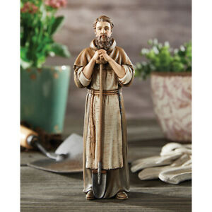 "8"" Saint Fiacre Statue Patron of Gardeners Resin"