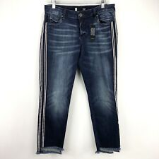 Kut From The Kloth Womens 8 Reese Ankle Straight Stripe Fray Step Hem Jeans NEW