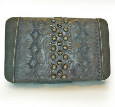 Montana West® Studded Flat Checkbook Wallet w/ Leather Lacing- Gray