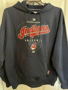 Cleveland Indians Chief Wahoo Baseball MLB Authentic Hoodie Sweatshirt Majestic