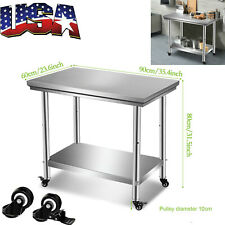 A New 90x60x80cm 201 Stainless Steel Work Table4 Caster Wheelstabletop Usa