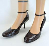 VTG 90s Nine West Brown Pebbled Leather Ankle Straps Pumps Heels Shoes 8.5 M