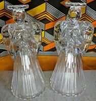 Set of two American Crystal Collection lead Crystal praying angel candle holders
