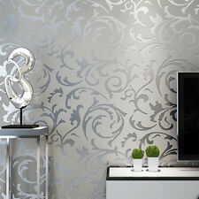 Luxury Floral Textured Satin Wallpaper Roll Living Room Bedroom Grey & Silver UK