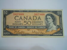 """CANADA 1954 $50 CHANGEOVER BANKNOTE   (B/H0273608) """"NICE"""""""