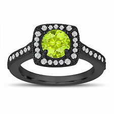Vintage Green Peridot Engagement Ring, 1.33 Carat 14K Black Gold Handmade Unique