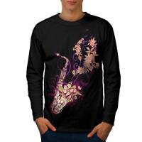 Wellcoda Saxophone Jazzy Mens Long Sleeve T-shirt, Instrument Graphic Design