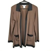 Exclusively Misook Women Open Front Cardigan Sweater Pockets Brown M