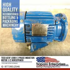 Teco AEVF-LR001 3 Phase Induction Motor 1/2 Horsepower 1370/1680 RPM Working