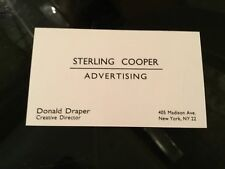 MAD MEN TV Drama Original Movie Prop DON DRAPER Business Card Sterling Cooper