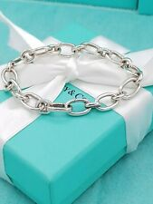 """Genuine Tiffany & Co Sterling Silver Oval Clasping End 7.5"""" Italy Bracelet"""