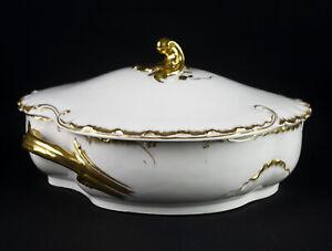 Haviland Marseille w Gold Covered Serving Bowl, Antique Limoges France 422 Leaf