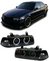 BLACK  CCFL ANGEL EYE HEADLIGHTS HEADLAMPS BMW E36 SALOON ESTATE & COMPACT