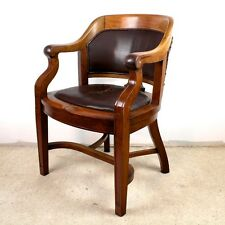 Victorian Walnut & Leather Bow Back Wide Desk Office Arm Chair-UK delivery £95