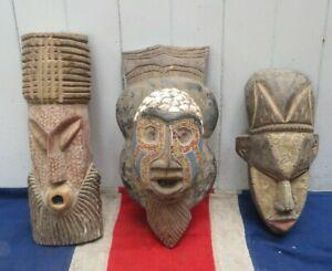 THREE ORNATE VINTAGE WEST AFRICAN TRIBAL ART MASKS INTERIOR DECORATOR SAFARI