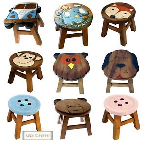 Shabby Chic Children & Kids Wooden Stool Solid Pine Character Seat Step in Box
