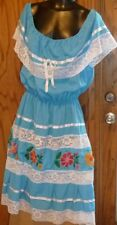Vintage Mexican (?) Ethnic Boho Hippie Peasant Festival EMBROIDERED blue DRESS