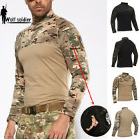Mens Combat T-Shirts Military Tactical Army Long Sleeve Camouflage Casual Shirts