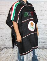 Warm Mexico Soccer Mexican Poncho Gaban Heavy Blanket Cape Ruana One Size