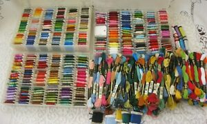 Large Lot of 500+ DMC Embroidery Cross Stitch Floss~3 Storage Cases~JPC~