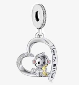 MONKEY I LOVE YOU MILLIONS HEART CHARM 925 STERLING SILVER 💜💛💜