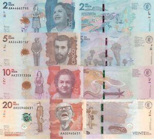 Colombia 4 Note Set: 2000-20000 Pesos (19.8.2015) - p458a,459a,p460a,p461a UNC