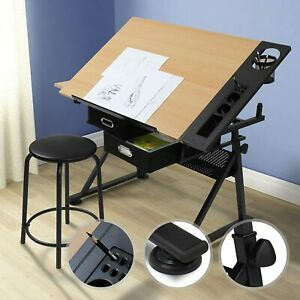 Drafting Drawing Table Painting Art and Craft Desk Stand 2 Drawers Stool Wooden