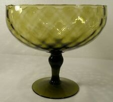 "Green Glass Empoli 8.5"" Diamond Optic Compote/Pedestal Bowl"